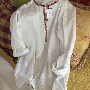 NWT J.Jill white shirt w/ neckline detail. Size L.